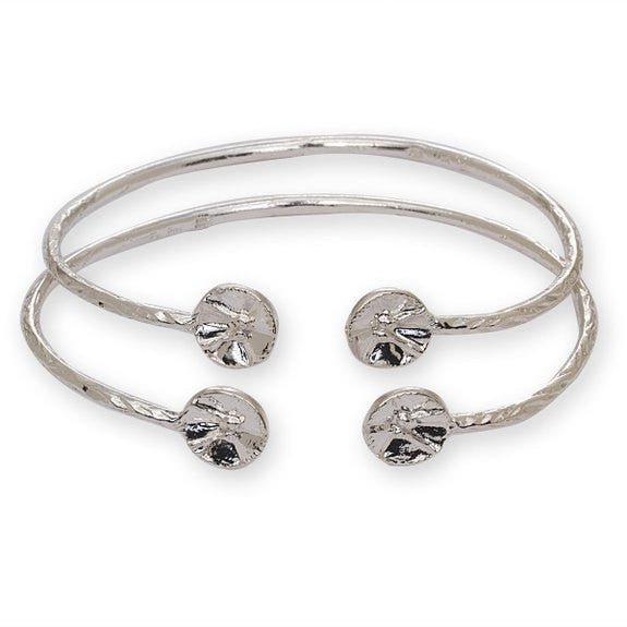 Drum Ends .925 Sterling Silver West Indian Bangles - Betterjewelry