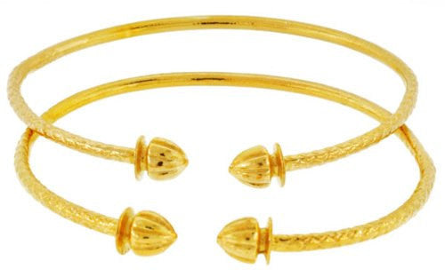 Solid Sterling Silver West-Indian Acorn Bangles Plated with 14K Gold (Made in USA) - Betterjewelry