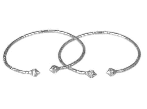 Pointy Ridged Belt .925 Sterling Silver West Indian Bangles (Pair)
