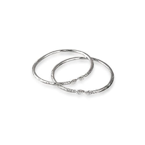 Leaf .925 Sterling Silver West Indian Bangles (Pair) - Betterjewelry