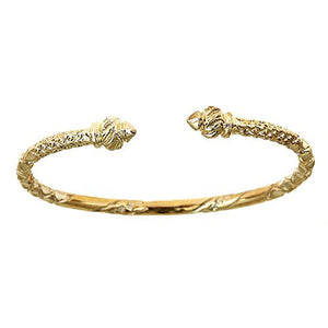 10K Yellow Gold West Indian Bangle w. Torch Ends (Made in USA) - Betterjewelry