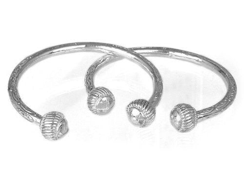Ridged Ball .925 Sterling Silver West Indian Bangles - Betterjewelry