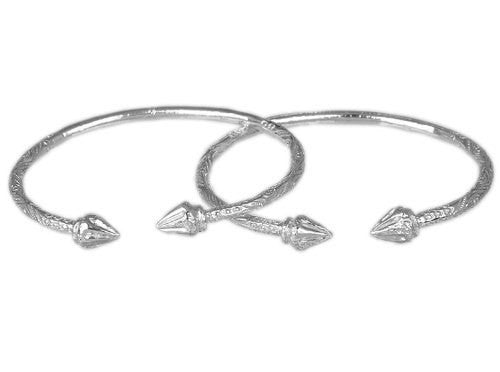 Arrow .925 Sterling Silver West Indian Bangles (Pair) - Betterjewelry