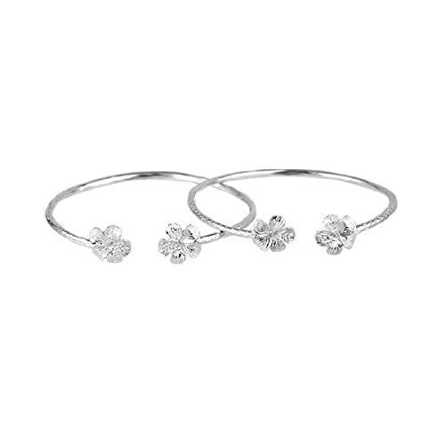 Flower .925 Sterling Silver West Indian Bangles (Pair) (Made in Usa)