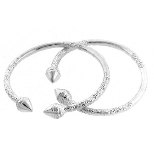 Spear .925 Sterling Silver West Indian Bangles (Pair) - Betterjewelry