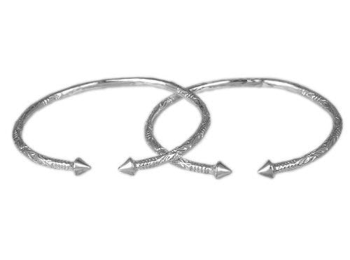 Cone .925 Sterling Silver West Indian Bangles (Pair) (4mm, 36g) - Betterjewelry