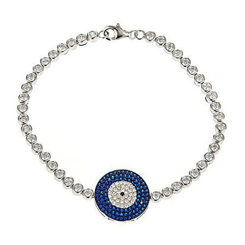 Women's .925 Sterling Silver Tennis Bracelet w. Blue Evil Eye Charm
