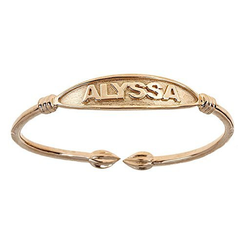 Tulip Ends Name Plate West Indian Bangle 14K Yellow Gold (MADE IN USA)