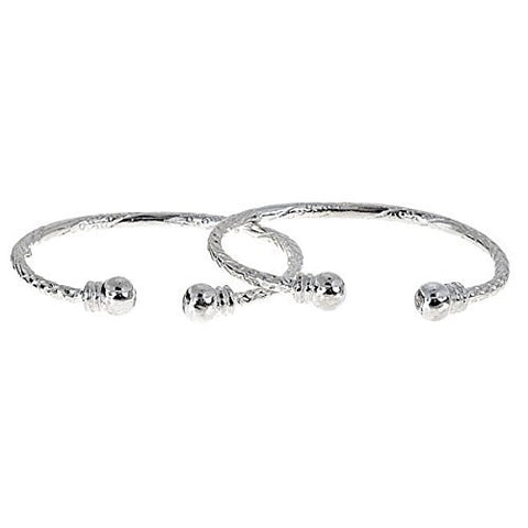 Ball w. Double Halo Ends .925 Sterling Silver West Indian Baby Bangles (Pair) - Betterjewelry