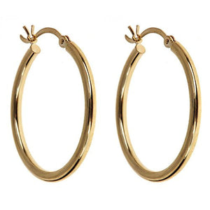 "Smooth .9"" Hoop Earrings 10K Yellow Gold - Betterjewelry"
