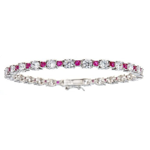 Tennis Bracelet w. White Round and Fuchsia Princess Cut CZ Stones .925 Sterling Silver