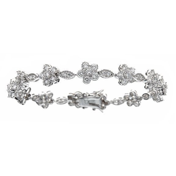 Tennis Bracelet w. White Round Cut CZ Stones Flower Design .925 Sterling Silver