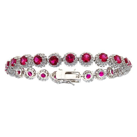 Tennis Bracelet w. White and Fuchsia CZ Stones .925 Sterling Silver