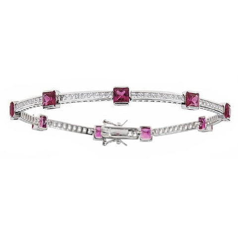 Tennis Bracelet w. Round Cut Channel Set White and Princess Cut Fuchsia CZ Stones .925 Sterling Silver