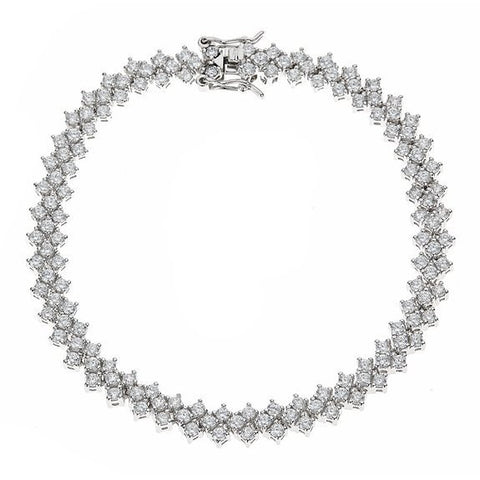 Tennis Bracelet w. White Princess Cut CZ Stones .925 Sterling Silver