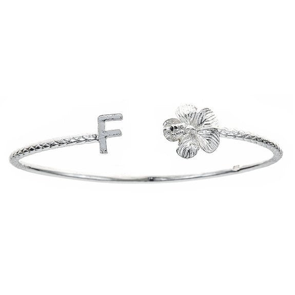 Personalized Letter + Flower End West Indian Bangle .925 Sterling Silver - Betterjewelry