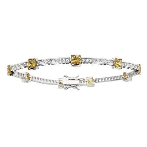 Tennis Bracelet w. Round Cut Channel Set White and Princess Cut Canary CZ Stones .925 Sterling Silver