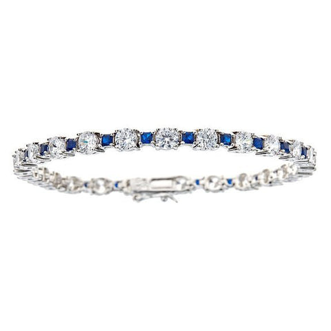 Tennis Bracelet w. White Round and Navy Princess Cut CZ Stones .925 Sterling Silver