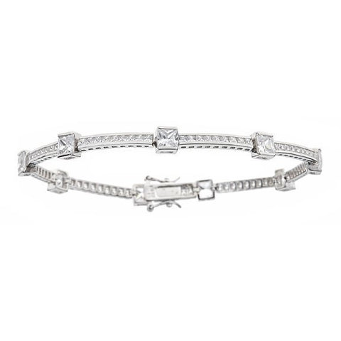 Tennis Bracelet w. Round Cut Channel Set White and Princess Cut White CZ Stones .925 Sterling Silver