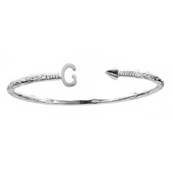 Personalized Letter + Arrow End West Indian Bangle .925 Sterling Silver