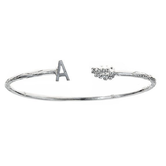 Personalized Letter + Grape End West Indian Bangle .925 Sterling Silver - Betterjewelry