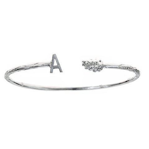 Personalized Letter + Grape End West Indian Bangle .925 Sterling Silver