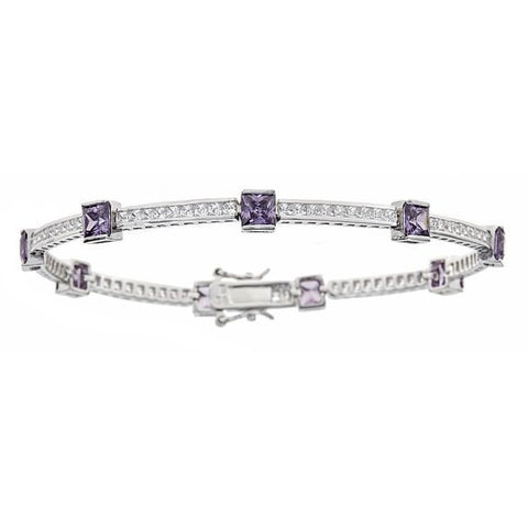 Tennis Bracelet w. Round Cut Channel Set White and Princess Cut Purple CZ Stones .925 Sterling Silver
