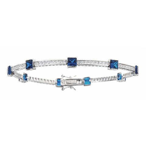 Tennis Bracelet w. Round Cut Channel Set White and Princess Cut Navy CZ Stones .925 Sterling Silver