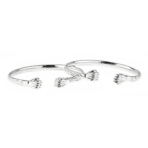 Flat Fist Ends .925 Sterling Silver West Indian BABY Bangles (Pair) (Made in USA) - Betterjewelry