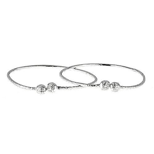 Etched Ball Ends .925 Sterling Silver West Indian BABY Bangles (Pair) (Made in USA) - Betterjewelry