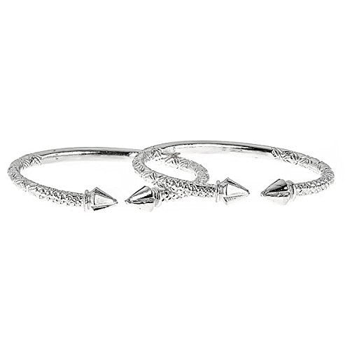 Arrow Ends .925 Sterling Silver West Indian Bangles 113 Grams (Pair) (MADE IN USA) - Betterjewelry