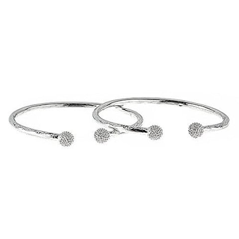 Disco Ball Ends .925 Sterling Silver West Indian Bangles 48.4 Grams (Pair) (MADE IN USA) - Betterjewelry