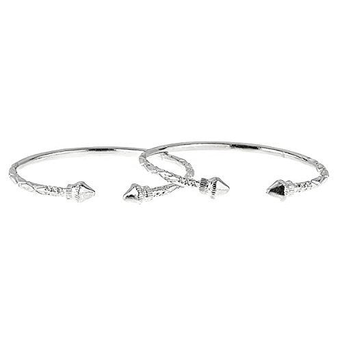 Cone Ends .925 Sterling Silver West Indian Bangles 47.7 Grams (Pair) (MADE IN USA) (3mm) - Betterjewelry