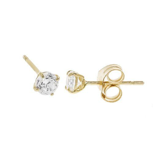 Brilliant 14K Yellow Gold Solitaire CZ Studs - Multiple Sizes - Betterjewelry