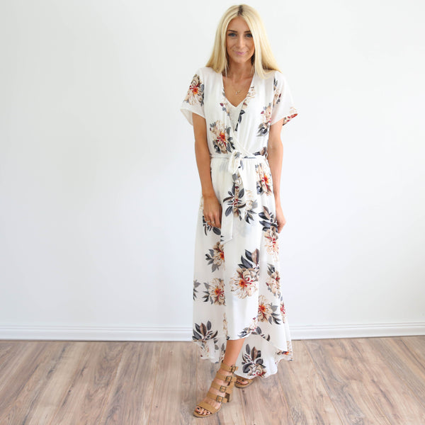 Cecilia Floral Dress in Ivory
