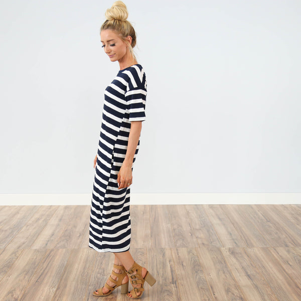 Maryna Navy Stripe Dress