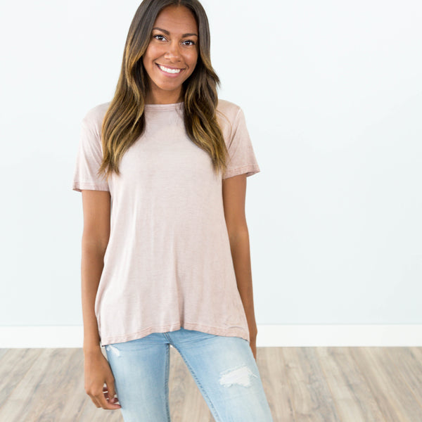 Back Bow Tee in Blush