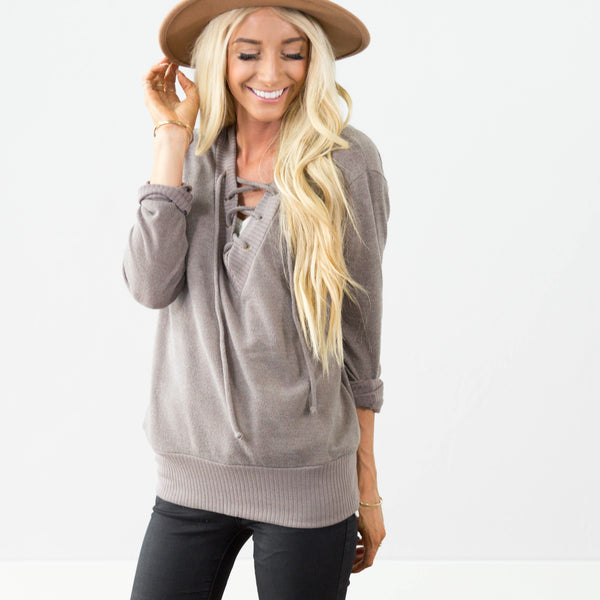 Tracy Tie Top in Mocha