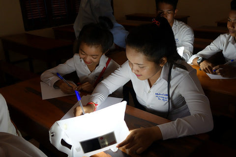 Children in Cambodia Study by LuminAID Solar Light PackLite 16
