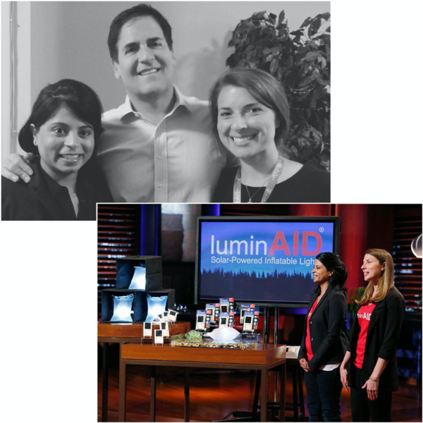 LuminAID's co-founders Andrea and Anna with their Shark Tank investor Mark Cuban.