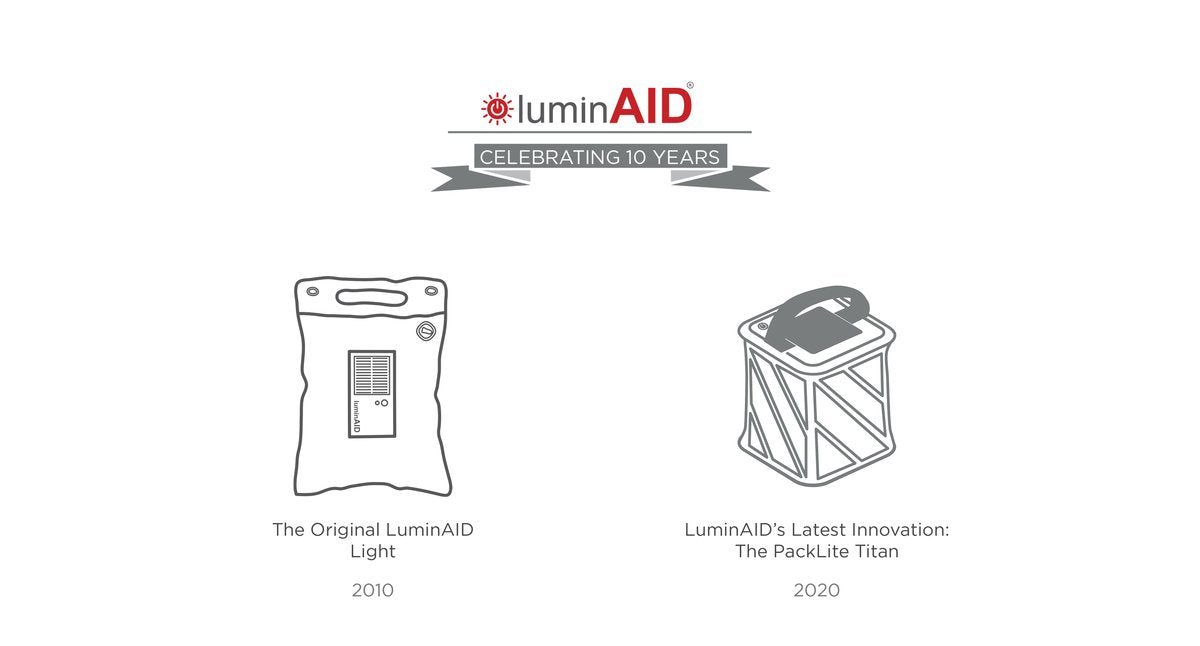 The original LuminAID compared to our latest innovation.