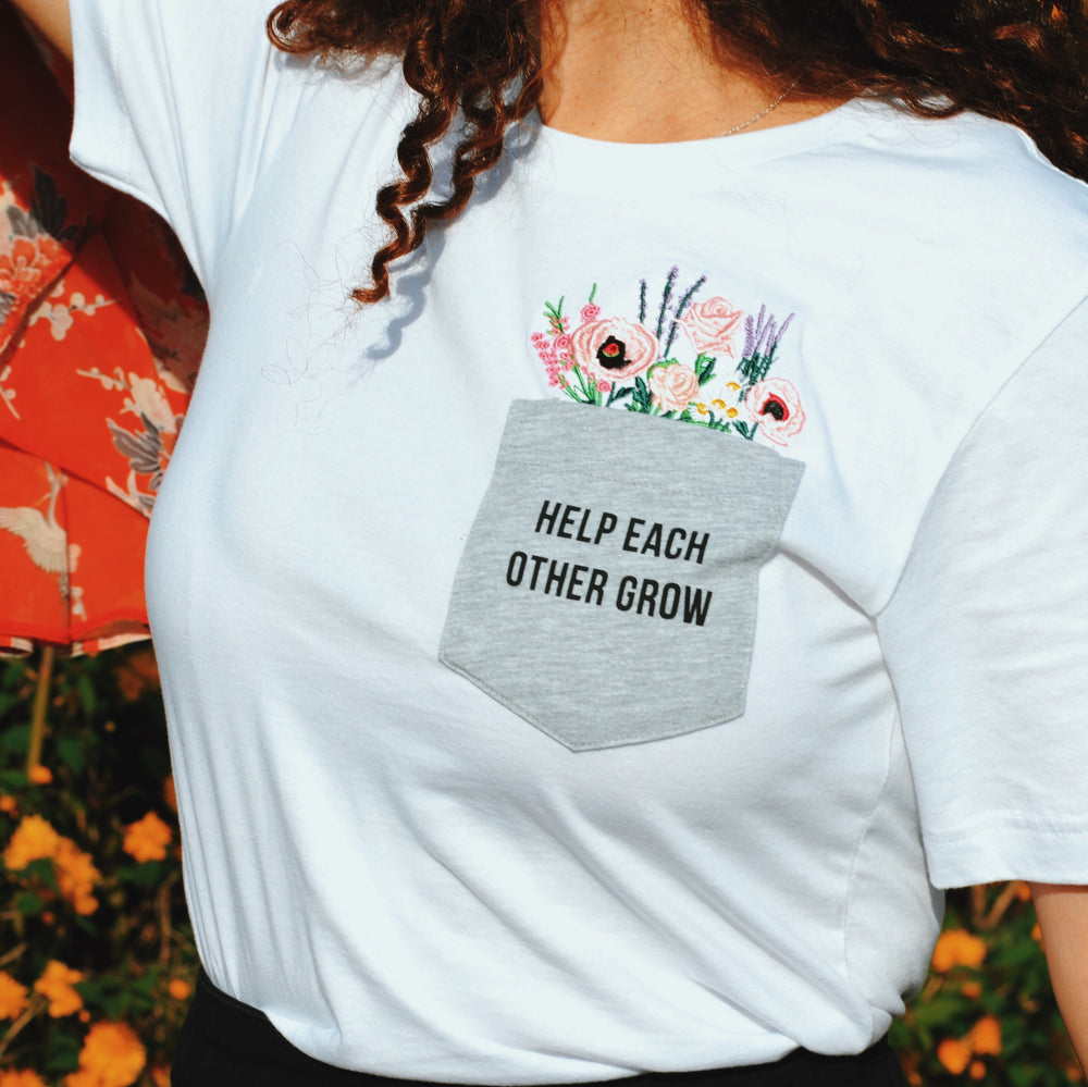 Load image into Gallery viewer, Help Each Other Grow (embroidered tee)