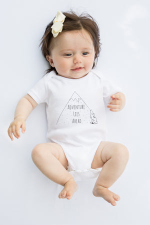 Load image into Gallery viewer, Adventure Lies Ahead // organic babygrow