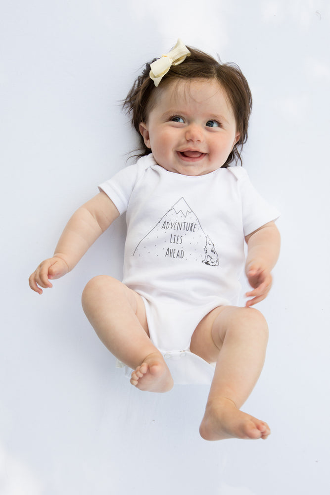 Adventure Lies Ahead // organic babygrow