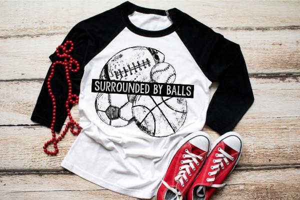 "1) 3/4 sleeve shirt ""Surronded By Balls"" (accessories in the photo are not included)"