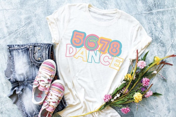 "(1) White short sleeve shirt ""5678 Dance"" (accessories in the photo are not included)"