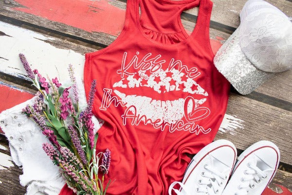 "(1) Flowy Racerback Tank ""Kiss Me I'm American"" (accessories in the photo are not included)"