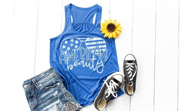 "(1) Flowy Racerback Tank ""American Beauty"" (accessories in the photo are not included)"