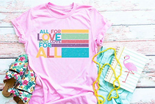 "(1) Short sleeve shirt ""All For Love And Love For All"" (accessories in the photo are not included)"