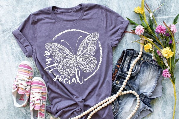 "(1) Short sleeve shirt ""Anti-Social Butterfly"" (accessories in the photo are not included)"